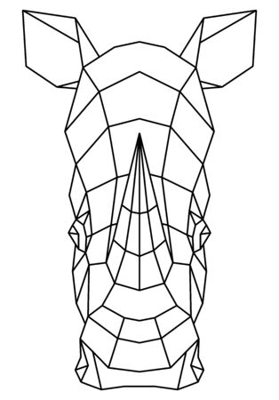 Abstract polygonal head of rhino. Rhinoceros geometric vector illustration.