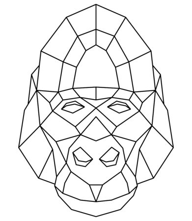 Abstract polygonal head of gorilla. Geometric vector illustration.