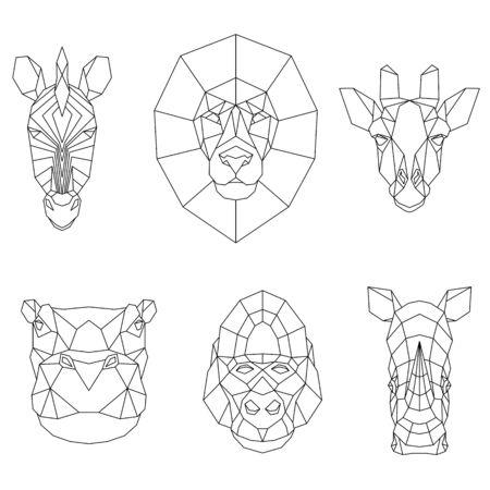 Polygonal set of African animals. Geometric heads of zebra, lion, giraffe, hippo, gorilla and rhino. Vector illustration.