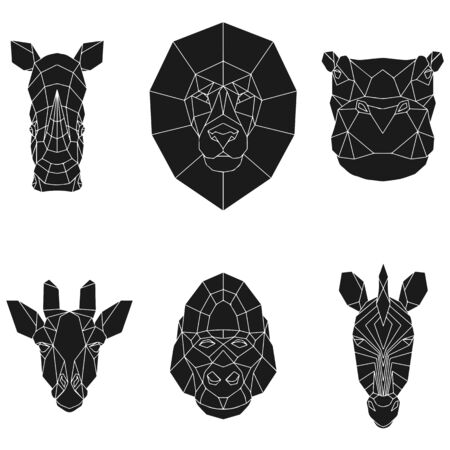 The black geometric heads of rhino, lion, hippo, giraffe, gorilla and zebra. Set polygonal abstract animals of Africa. Vector illustration. Banque d'images - 138171588