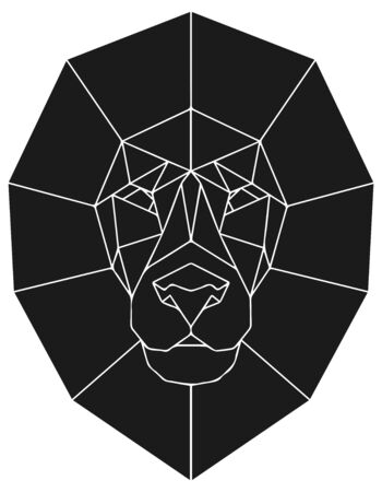 The black geometric head of lion. Polygonal abstract animal of Africa. Vector illustration. Banque d'images - 138177386
