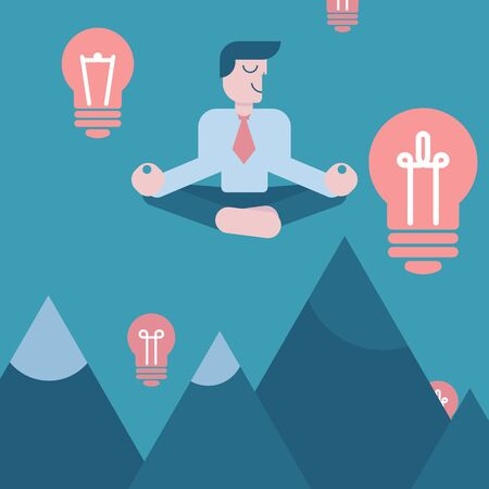 Meditating businessman with idea, vector illustration. Cartoon character man on background of sky above mountains. Mindful, calm, smiling visionary, business idea. Light bulb as symbol of inspiration Illusztráció