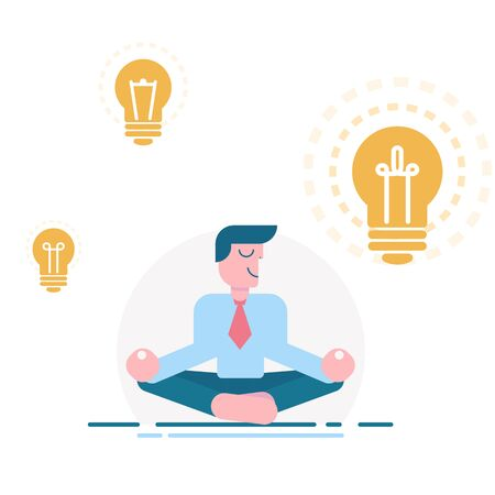 Meditating businessman with idea, vector illustration. Cartoon character man on white background. Mindful, calm, smiling visionary, business idea. Light bulb as symbol of inspiration. Vector illustration Vector Illustration