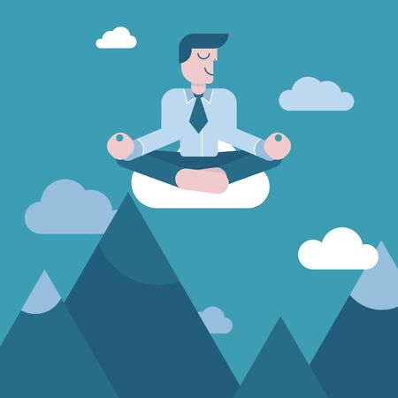 Businessman in the sky over the mountains meditating in peace for any spiritual and inner peace business concepts. Vector illustration in flat style.