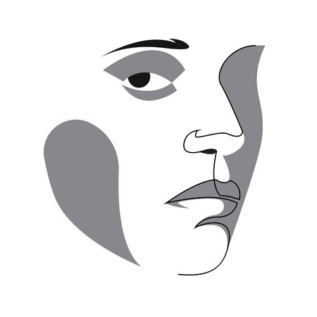 Abstract drawing of Portrait of a Beautiful Womans face. The Concept of Skin Beauty Care for young female models. Fashion beauty model with a white background. Vector Illusztráció