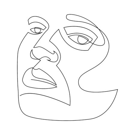 Continuous line drawing of Portrait of a Beautiful Womans face. The Concept of Skin Beauty Care for young female models. Fashion beauty model with a white background. Vector