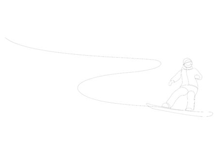 Continuous one line drawing of winter sport of snowboarding. A man on the snowboard freestyle. Vector minimalism design. Illustration