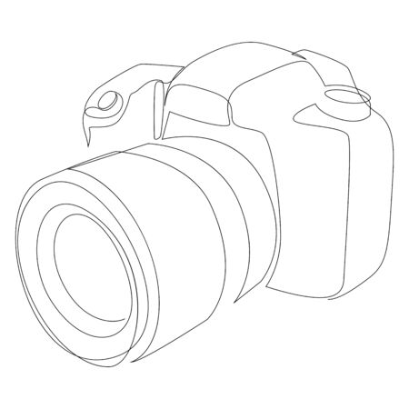 DSLR camera digital vector with one continuous single line drawing. Minimal art style. Photography equipment concept continuous line draw design illustration.