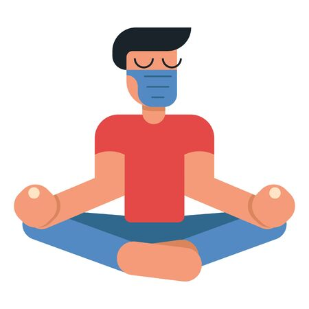 Coronavirus outbreak vector concept. A man in medicine mask sits in a meditation pose at home. Covid-19 virus in air. Staying home with self quarantine. Protect from viruses Illusztráció