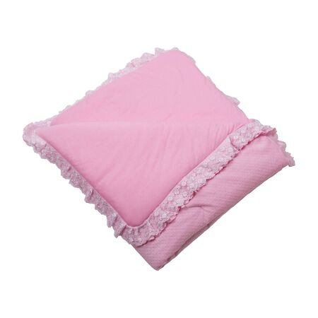 Pink baby recieving blanket. Rolled up soft pink cloth isolated on white background