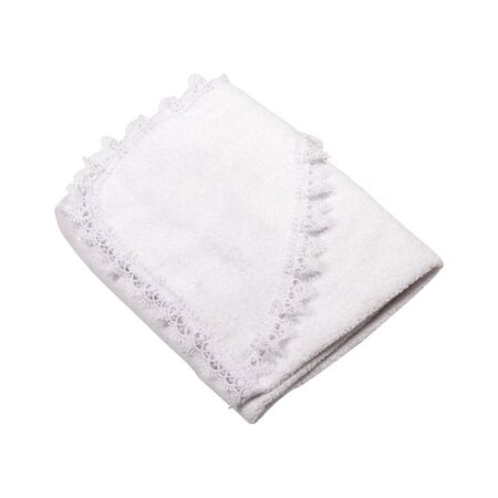 Folded white cloth with lace isolated on white background Stock fotó
