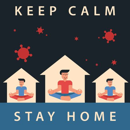 Coronavirus outbreak vector concept. A man and his neighbours sit in a meditation pose at home. Covid-19 virus in air. Staying home with self quarantine. Protect from viruses. Keep calm, stay home