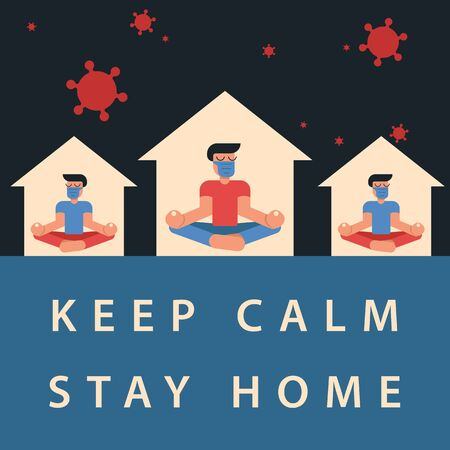 Coronavirus outbreak vector concept. A man in medicine mask and his neighbours sit in a meditation pose at home. Covid-19 virus in air. Staying home with self quarantine. Protect from viruses. Keep calm, stay home