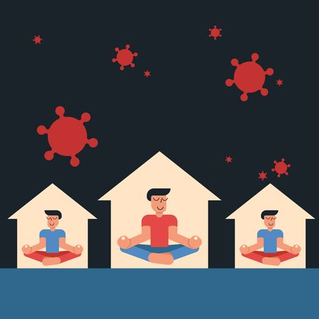 Coronavirus outbreak vector concept. A man and his neighbours sit in a meditation pose at home. Covid-19 virus in air. Staying home with self quarantine. Protect from viruses