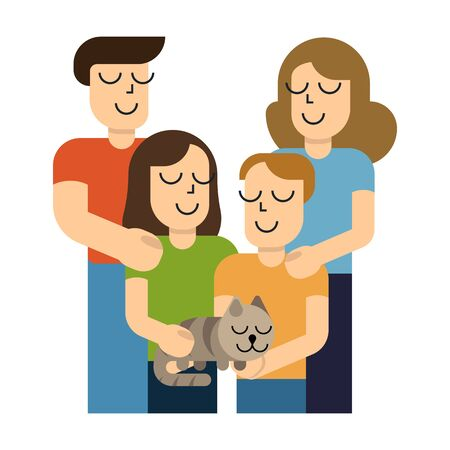 Happy young family. Dad, mom, son, daughter and cat together. Vector illustration in simple cartoon style