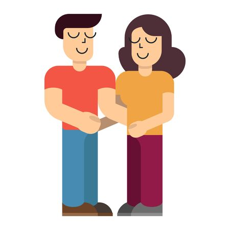 Couple of young people. Man and woman hold hands on a white background. Vector illustration in a flat style Illusztráció