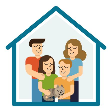 Concept housing a young family. Mother, father, son, daughter and cat in new house with a roof. Simple style vector design illustrations. Vettoriali