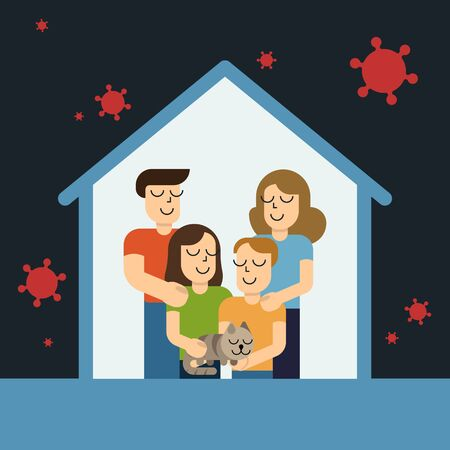 Stay at home awareness social media campaign and coronavirus prevention family smiling and staying together. Vector illustration