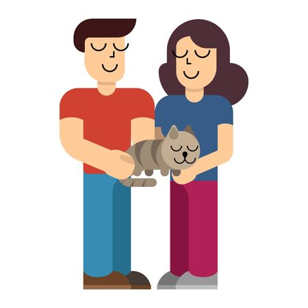 Man and woman holding domestic cat. Couple with cat in simple flat style. Vector illustration isolated on white background.