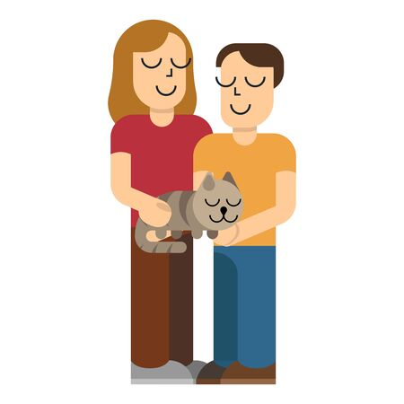 Girl and boy holding domestic cat. Kids with cat in simple flat style. Vector illustration isolated on white background. Illusztráció