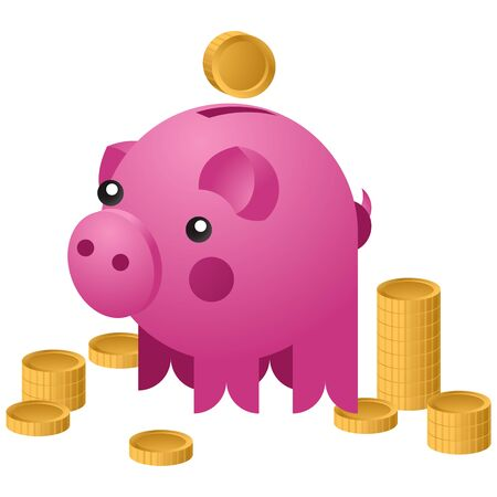Moneybox in the form of ceramic pig with a coins falling into it. Concept of saving money. Vector illustration Illusztráció