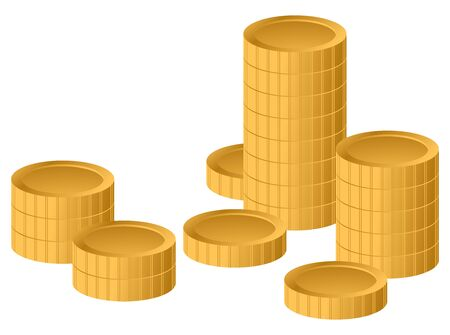Concept success in Business with stack of gold coins, isolated on white background. Vector illustration Illusztráció