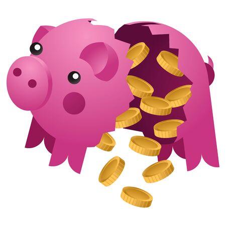 Broken piggy bank with coins. Ceramic pig vector illustration Illusztráció