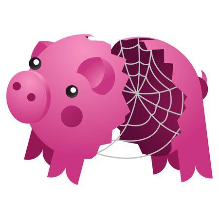 Empty broken ceramic pig bank with spider web. Vector Illustration
