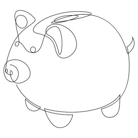 One line ceramic pig. Minimal style simple vector illustration