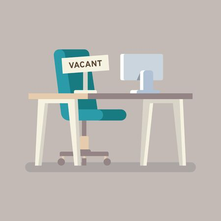 Composition with office chair Computer table and a sign vacant. Business hiring and recruiting concept. Vector illustration.