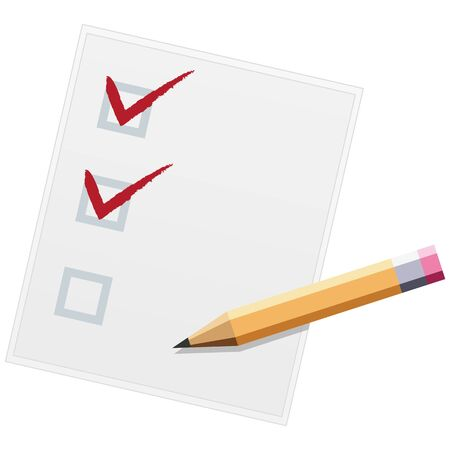 Checklist with pencil flat design illustration. Two of three. Vector