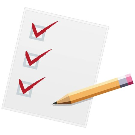 Checklist with pencil flat design illustration. Three of three. Vector Illusztráció