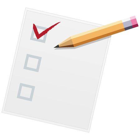 Checklist with pencil flat design illustration. One of three. Vector Illusztráció