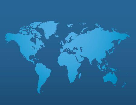 Blue similar world map blank on dark background for infographic. Vector illustration Illusztráció