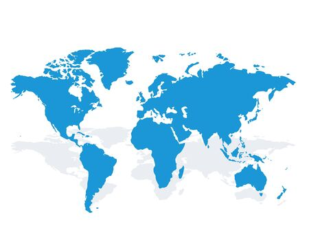 Blue similar world map blank for infographic isolated on white background. Vector illustration Illusztráció