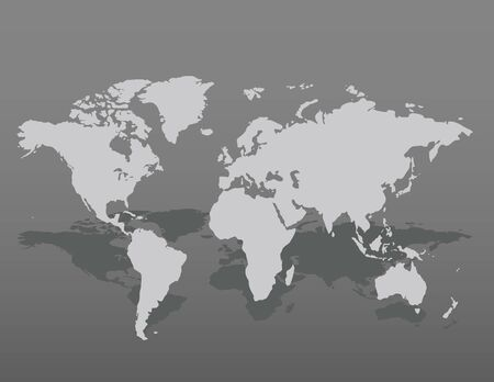 Gray similar world map blank for infographic on dark background. Vector illustration