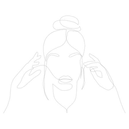 Abstact line art vector face. Line drawing woman with hands. People clip art. Cosmetics salon logo line drawing female