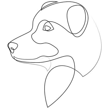 Australian Shepherd vector Dog portrait. Continuous line. Dog line drawing