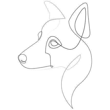 Border Collie vector Dog portrait. Continuous line. Dog line drawing