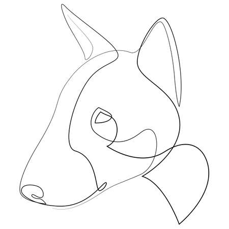 Bull Terrier vector Dog portrait. Continuous line. Dog line drawing