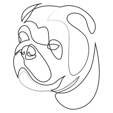 English Bulldog vector Dog portrait. Continuous line. Dog line drawing Illusztráció