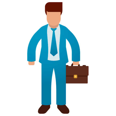 Businessman holding briefcase isolated on white background. Vector illustration flat design. Male cartoon character. Office manager in a business suit. Confident man Illusztráció