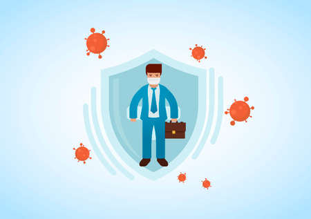 Businessman wearing virus protective medical mask and suit holding briefcase. Business protection from COVID-19 concept. Stop coronavirus spreading. Vector illustration.