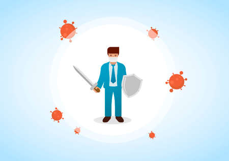 Businessman wearing virus protective medical mask and suit holding sword and shield to protect from COVID-19. Stop coronavirus spreading. Vector illustration.
