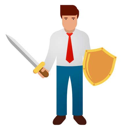 Businessman holding sword and golden shield. Business defending, hero, knight concept. Vector illustration.