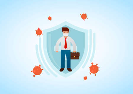 Businessman wearing virus protective medical mask holding briefcase. Business protection from COVID-19 concept. Stop coronavirus spreading. Vector illustration. Illusztráció
