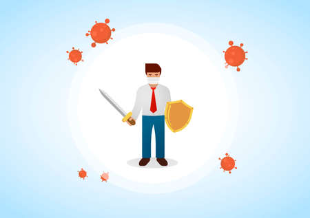 Businessman wearing virus protective medical mask holding sword and golden shield to protect from COVID-19. Stop coronavirus spreading. Vector illustration.