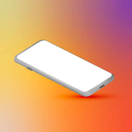 Mobile phone with blank screen. Silver smartphone 3D perspective view. Colorful gradient mesh background. Template for graphic design presentation. Vector illustration Фото со стока