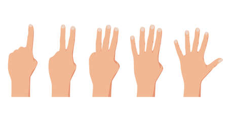 Counting from one to five. Realistic people hands gestures. Cector illustration isolated on white background