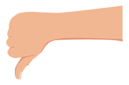 Man hand with thumb down gesture. Signal man hand rejection of a decision, disagreement, gesture thumb down. Vector illustration isolated